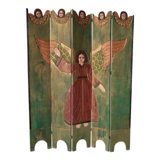 Antique Spanish Folk Art Five-Panel Screen Room Divider For Sale