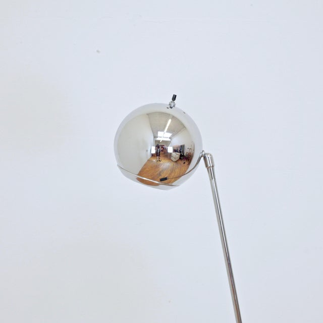 Chrome 1970s Robert Sonneman Orb Floor Lamp For Sale - Image 8 of 9