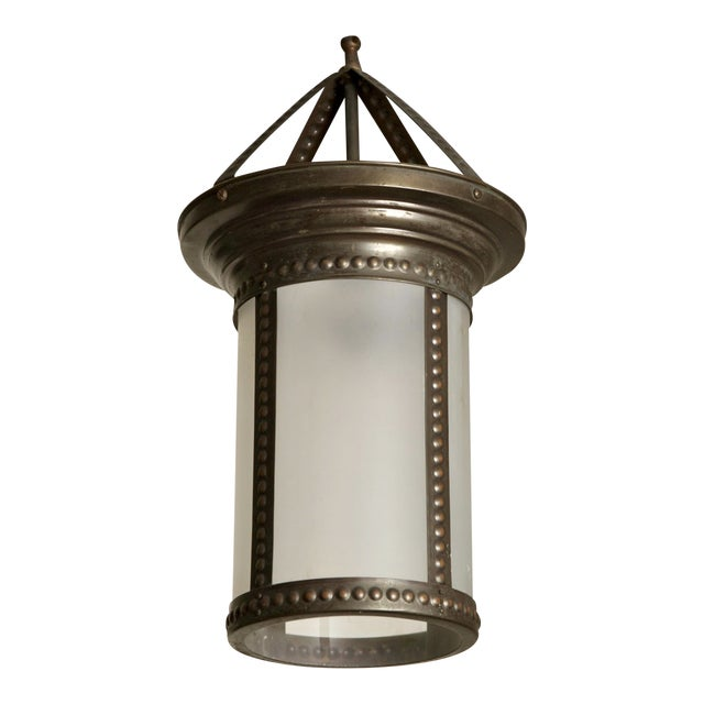 Antique English Hanging Bronze and Frosted Glass Hall Lantern For Sale
