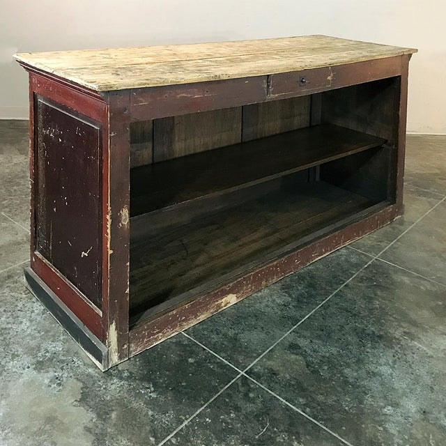 Oxblood Red 19th Century Rustic County French Store Counter For Sale - Image 8 of 11