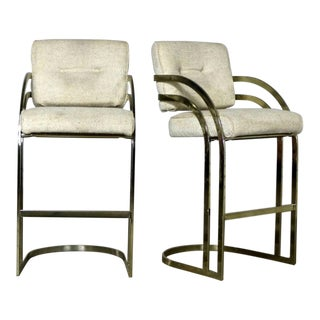 Milo Baughman Style Cantilever Brass Plated Bar Stools - A Pair
