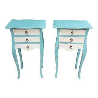 French Shabby Chic Bedside Tables - Set of 2 For Sale