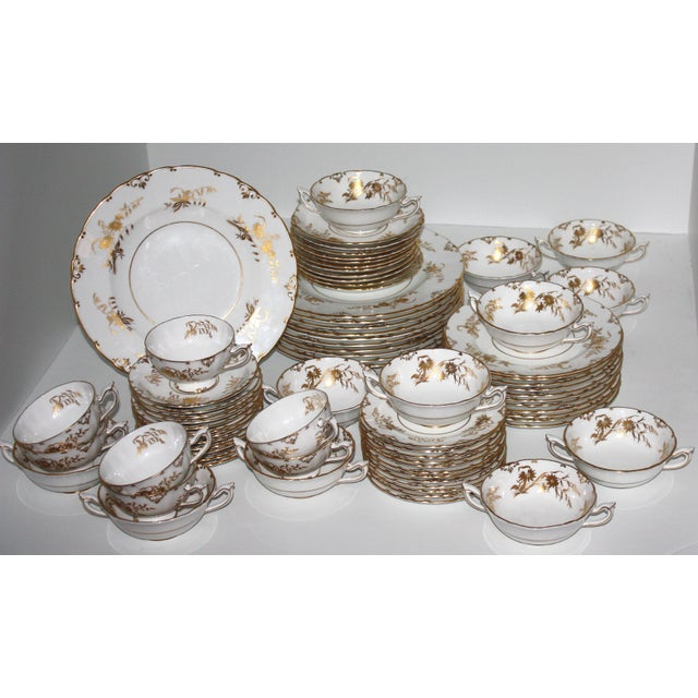 """White Royal Crown Derby """"Marquis"""" Pattern Dinnerware - Set of 76 For Sale - Image 8 of 11"""
