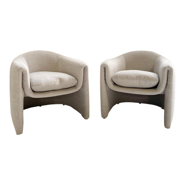 Preview Modernist Lounge Chairs Restored in Loro Piana Alpaca Wool Fabric - Pair For Sale