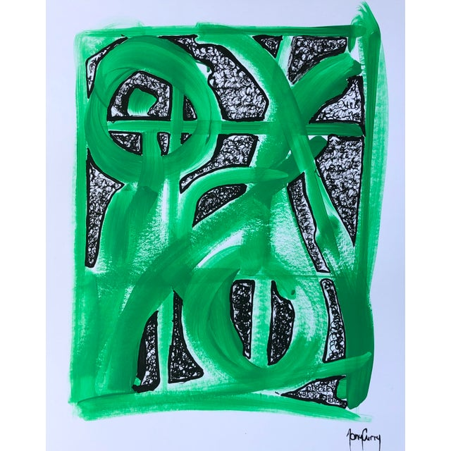 """Abstract """"Green Abstract"""" Painting by Tony Curry For Sale - Image 3 of 3"""