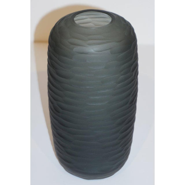 1980s Salviati Vintage Italian Minimalist Smoked Gray Battuto Murano Art Glass Vases For Sale - Image 5 of 12
