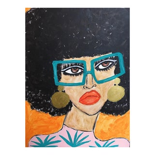 """Green Glasses"" Mixed Media Painting"