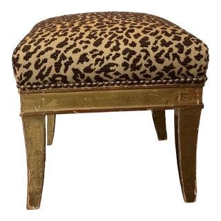 Leopard Kravet Fabric Upholstered Stool For Sale