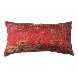 Hollywood Regency Red Chinoiserie Boudoir Pillow