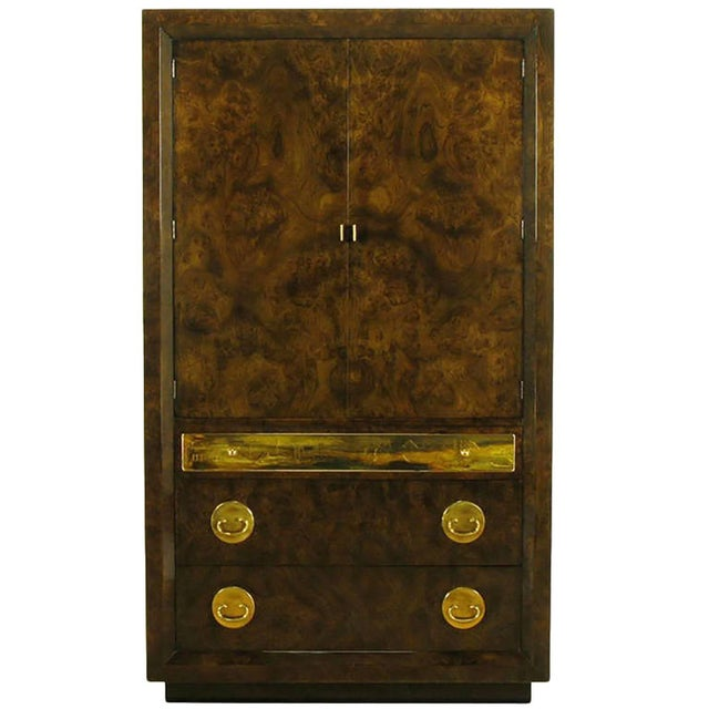 Mastercraft Burl and Acid Etched Brass Wardrobe Cabinet For Sale - Image 9 of 9