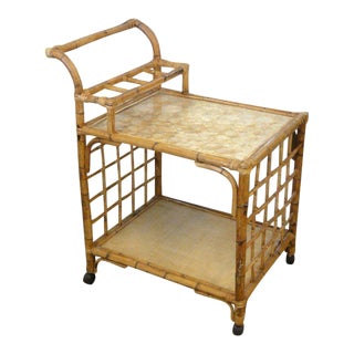 Rattan Bamboo Tea / Bar Cart