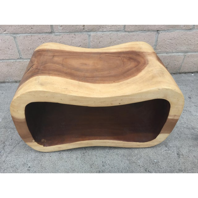 Asian Organic Modern Acacia Wood Peanut Bench For Sale - Image 3 of 4