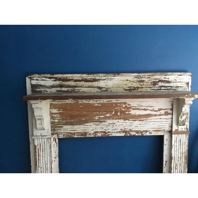 Antique Shabby Chic Wooden Mantel with Shelf For Sale - Image 9 of 11