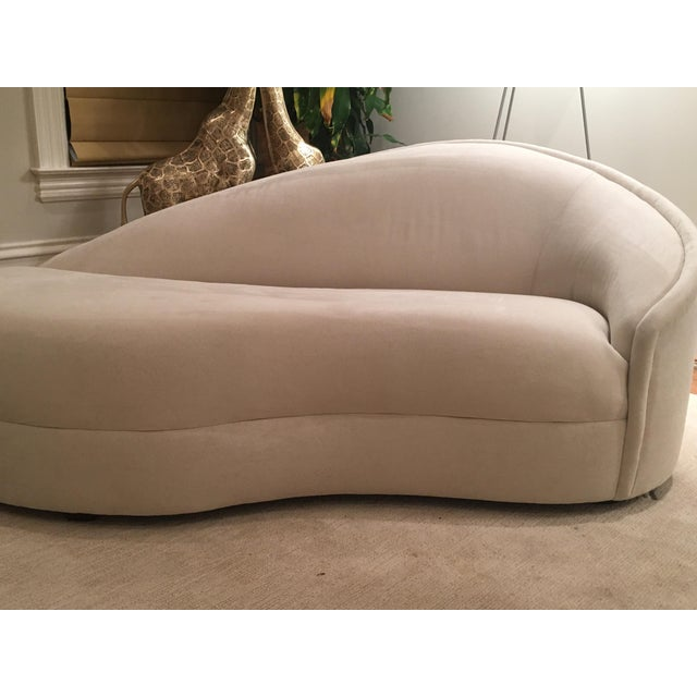Modern White Suede Sofa Chaises - a Pair - Image 10 of 10