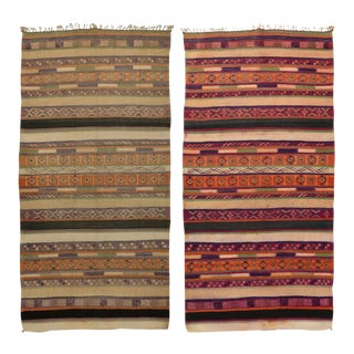 Reversible Vintage Moroccan Kilim Rug with Stripes and Modern Tribal Style