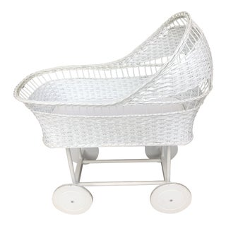 Wicker Bassinet on Wheels For Sale