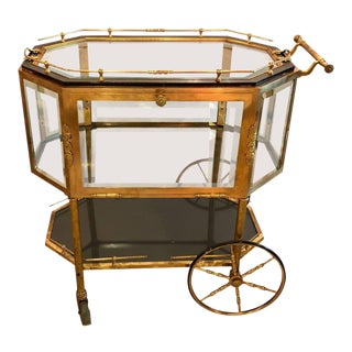 Bronze and Beveled Glass Show Case Vitrine Tea Cart Serving Wagon