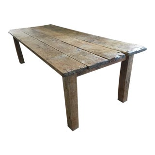 Handmade Barnwood Table Made From 1870 Indiana Barn Wood of American Chestnut Top and Oak Legs For Sale