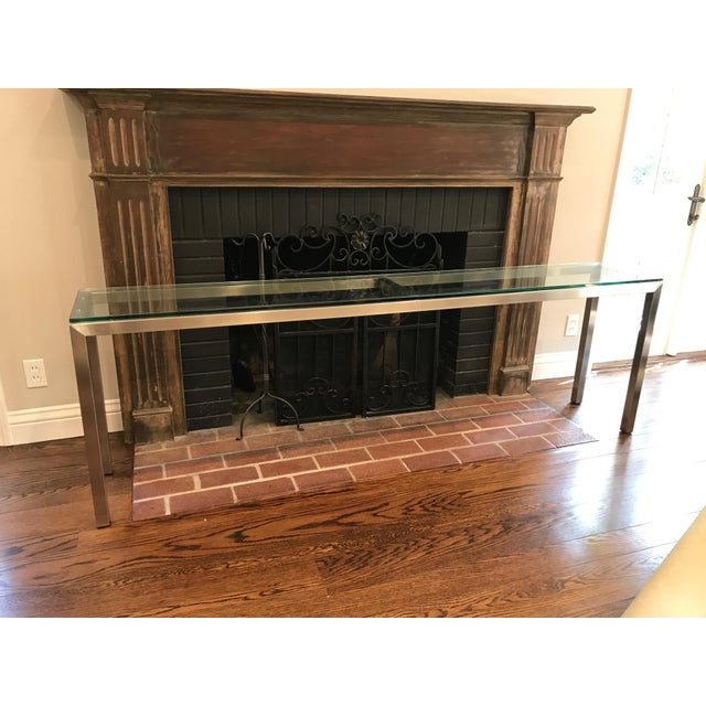 Room and Board Steel Glass Top Portico Console Table - Image 3 of 4