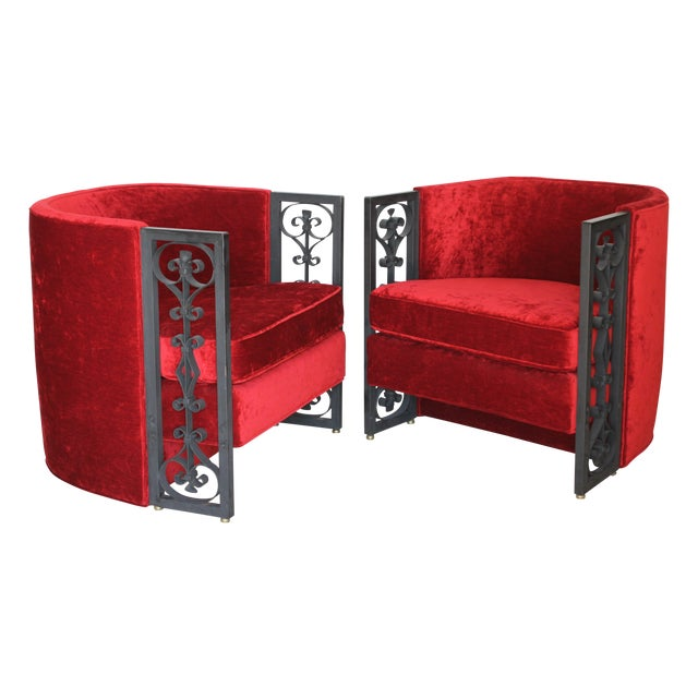 Wrought Iron and Red Velvet Club Chairs - Pair - Image 1 of 9