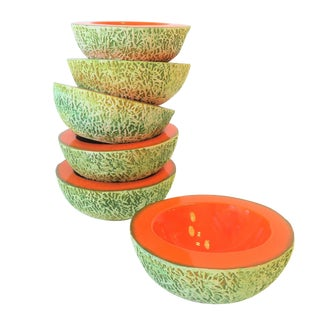 Italian Designer Matte Ceramic Pottery Orange Melon Fruit Sculpture Bowls For Sale