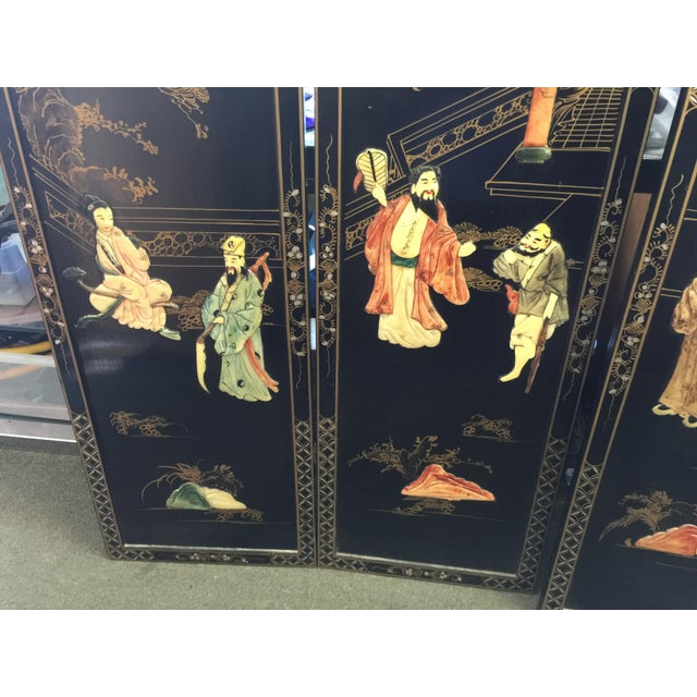 Chinese Black Lacquer Hardstone Wall Panels Set of Four For Sale In San Francisco - Image 6 of 8