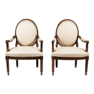 Antique Italian Neoclassical Style Armchairs - A Pair For Sale