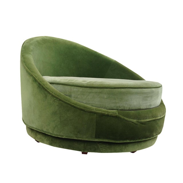 Milo Baughman Emerald Green Swivel Loveseat - Image 1 of 8