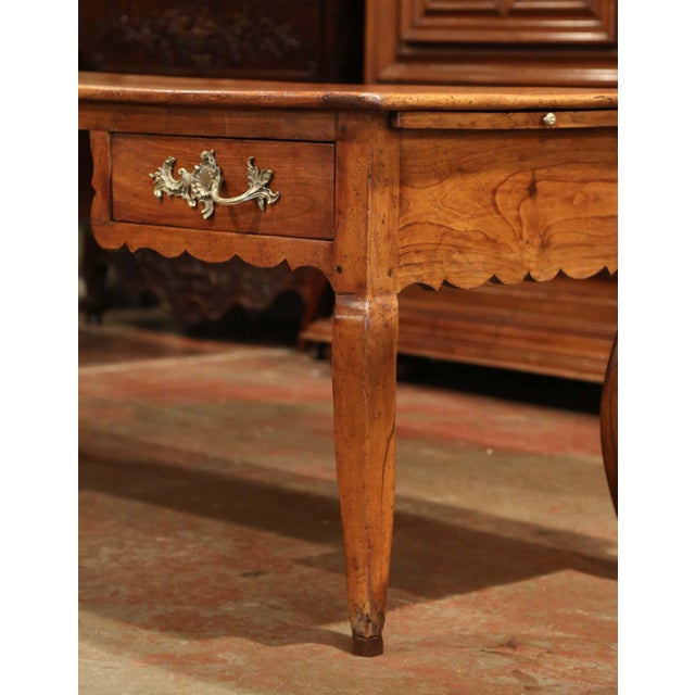 18th Century French Louis XV Carved Cherry Desk With Drawers and Pullout Trays For Sale - Image 9 of 13