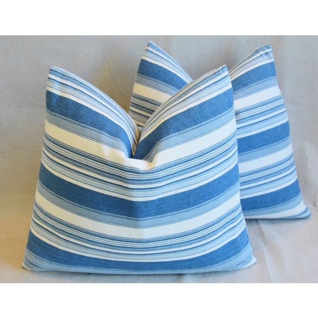 """French Blue & White Nautical Stripe Feather/Down Pillows 20"""" X 18"""" - Pair For Sale - Image 11 of 13"""