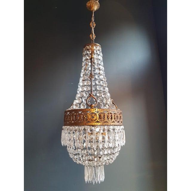 Basket Chandelier Brass Empire Crystal Lustre Ceiling Lamp Antique Art Nouveau For Sale - Image 11 of 12