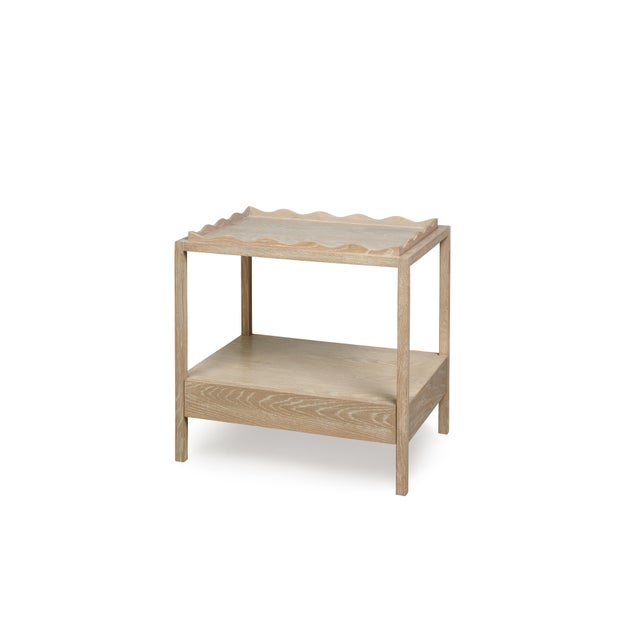 Cerused oak nightstand with tray.