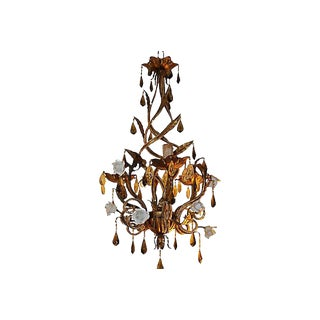 1930's French Art Deco Maison Bagues Porcelain Rose/ Gilt Flower / Crystal Beaded Chandelier