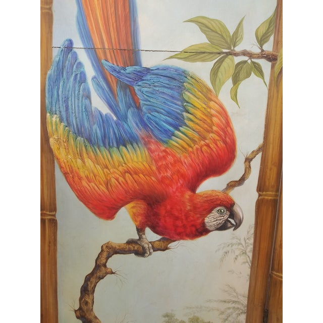 Wood Chinoiserie Picturesque Tropical Double Sided Hand Painted Room Divider For Sale - Image 7 of 13
