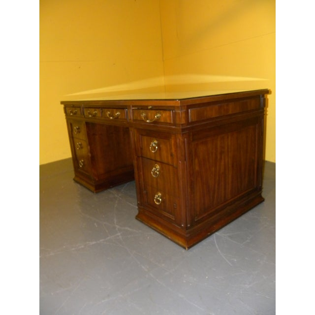 Leather Top Mahogany Desk by Sligh Furniture For Sale - Image 10 of 11