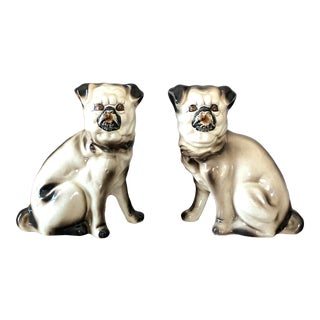 Vintage Staffordshire Pugs - a Pair For Sale