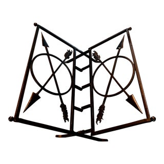 Iron Magazine Rack with Arrow Motif, 1990s For Sale