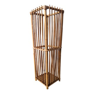 Tall 20th Century French Boho Chic Bamboo Baguette Basket/ Umbrella Stand For Sale