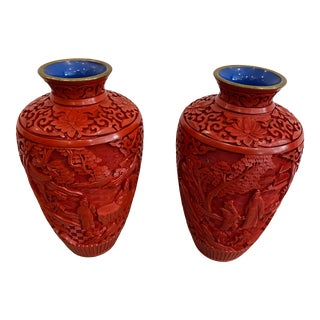 Cinnabar Lacquer Vases - a Pair For Sale