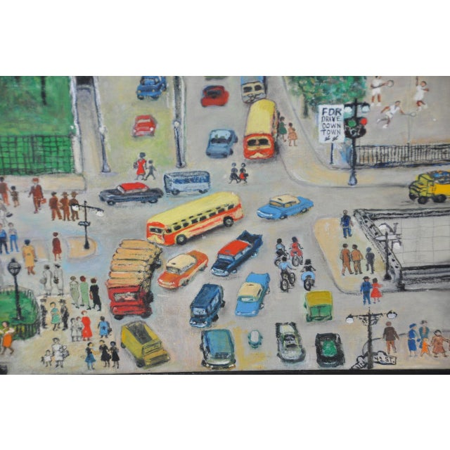 """Canvas Large Scale New York City """"United Nations"""" Folk Art Painting by Helen Mauldin C.1958 For Sale - Image 7 of 13"""