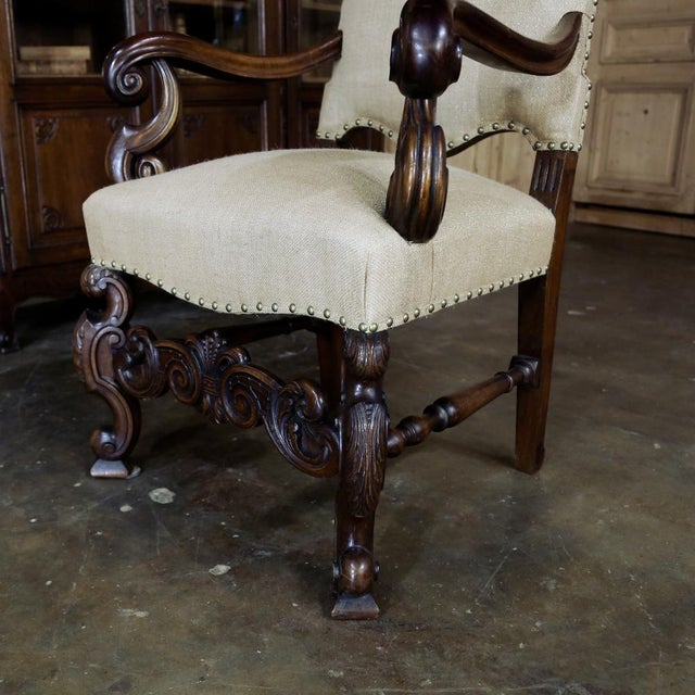 Late 19th Century 19th Century French Walnut Louis XIV Armchair For Sale - Image 5 of 13