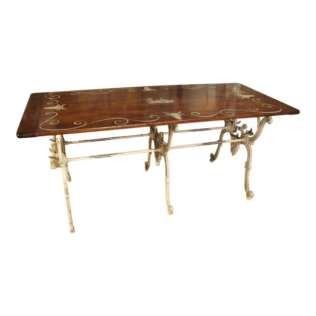 Antique French Wood and Iron Butchers Table, Late 19th Century For Sale