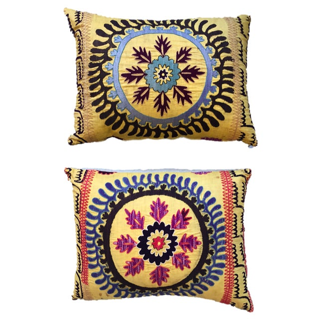 Blue Vintage Suzani Pillows - a Pair For Sale - Image 8 of 8