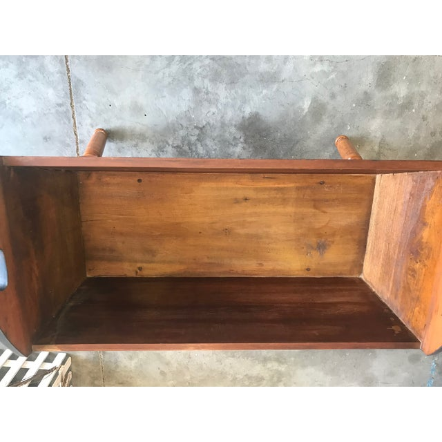 Antique Primitive Blue / Nutmeg Stain Doughbox Table For Sale - Image 4 of 5