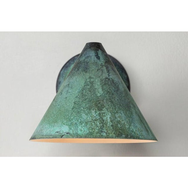 Mid-Century Modern Hans-Agne Jakobsson 'Mini-Tratten' Patinated Copper Outdoor Sconces - a Pair For Sale - Image 3 of 13