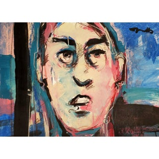 Contemporary Expressionist Style Face Portrait of a Man Acrylic Painting by Jose Trujillo For Sale