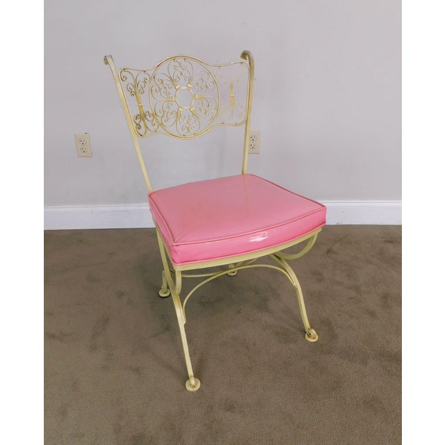 1950s Vintage Set of 4 Woodard Andalusian Wrought Iron Scroll Back Chairs For Sale - Image 5 of 12