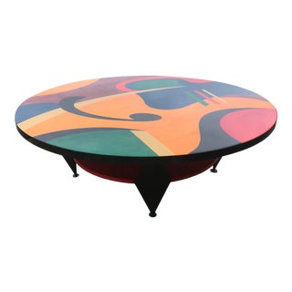 "Benjamin Le ""Lively"" Abstract Mid-Century Modern Painted Coffee Table For Sale"