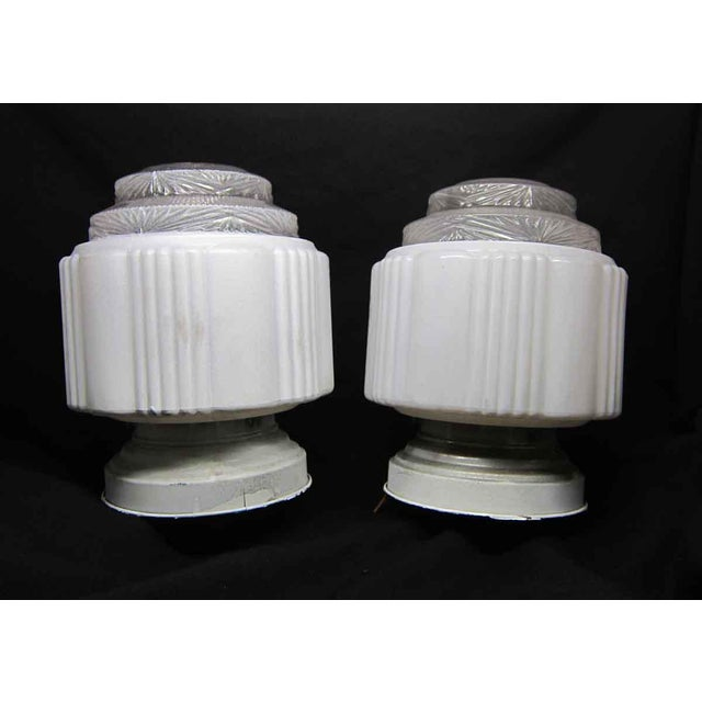 White Milk Glass Wedding Cake Flush Mount Fixtures For Sale - Image 4 of 7
