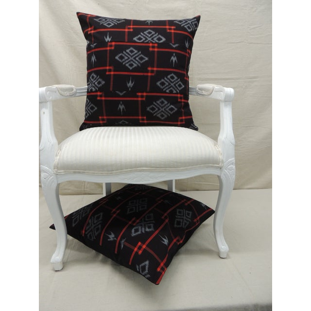 Vintage Asian Red & Black Ikat Woven Textile Square Decorative Pillows- a Pair For Sale In Miami - Image 6 of 9